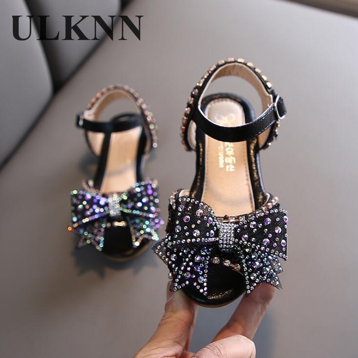 ULKNN Hot Summer Girls Sandals With Bow Open Toe Diamond Princess Party Shoes Soft Flat Sandals For Girls Kids Sandals