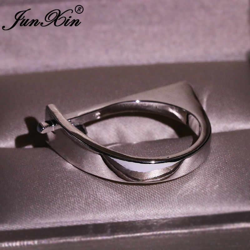 สามเหลี่ยมเรขาคณิตแหวนผู้หญิงผู้ชาย 925 เงินสีขาวคริสตัลไม่สม่ำเสมอสัญญาหมั้นแหวนแต่งงานเครื่องประดับ
