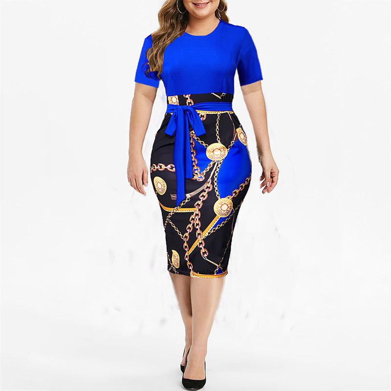 Vintage Print Plus Size Knee length Dress Womens Summer Short Sleeve Midi Elegant Dresses Summer Sexy High Waist Robe 2021