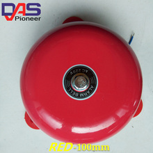 AC 220V 100mm 4 inch Dia Schools Fire Alarm Round Shape Electric Bell Red