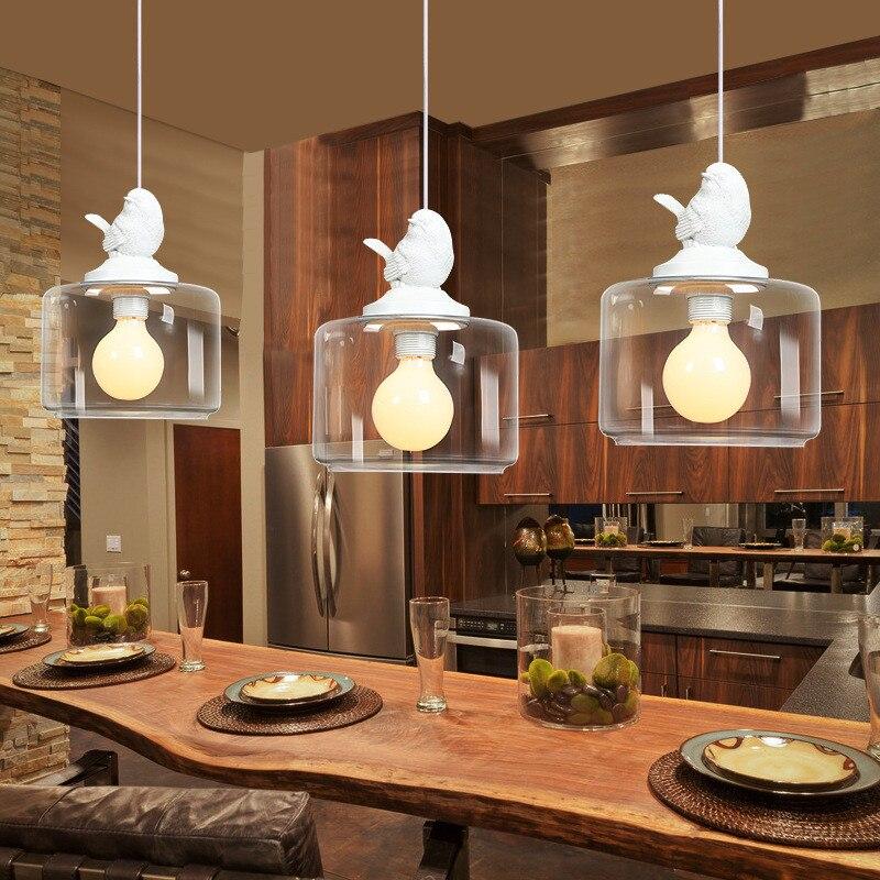 Creative glass bird pendant lights  one head bird led hanging lamp for dinner room Restaurants shops  Cafe 110v 220v