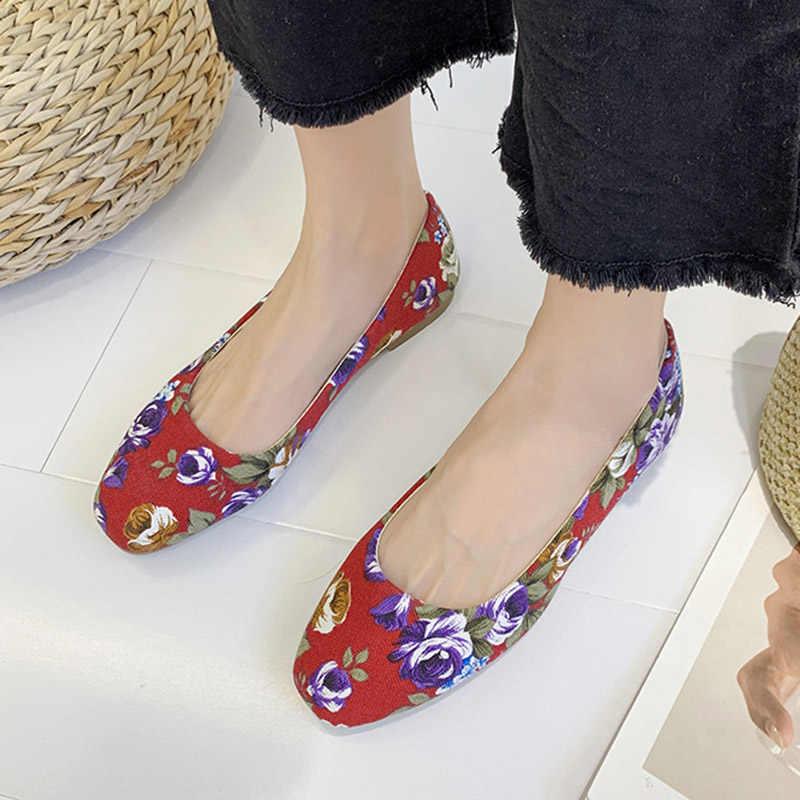בתוספת גודל נשים דירות פרחים להחליק על שטוח נעלי הדפסת בלט דירות אישה סירת נעלי פרחוני ופרס נעל רדוד zapatos mujer
