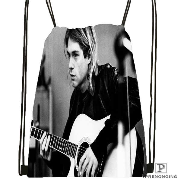 Custom Kurt Cobain    Drawstring Backpack Bag Cute Daypack Kids Satchel (Black Back) 31x40cm#20180611-02-94
