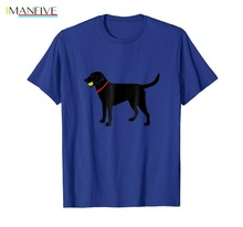 MenS T-Shirt 2019 Newest Labrador Retriever Fetch, Black Lab Play Ball