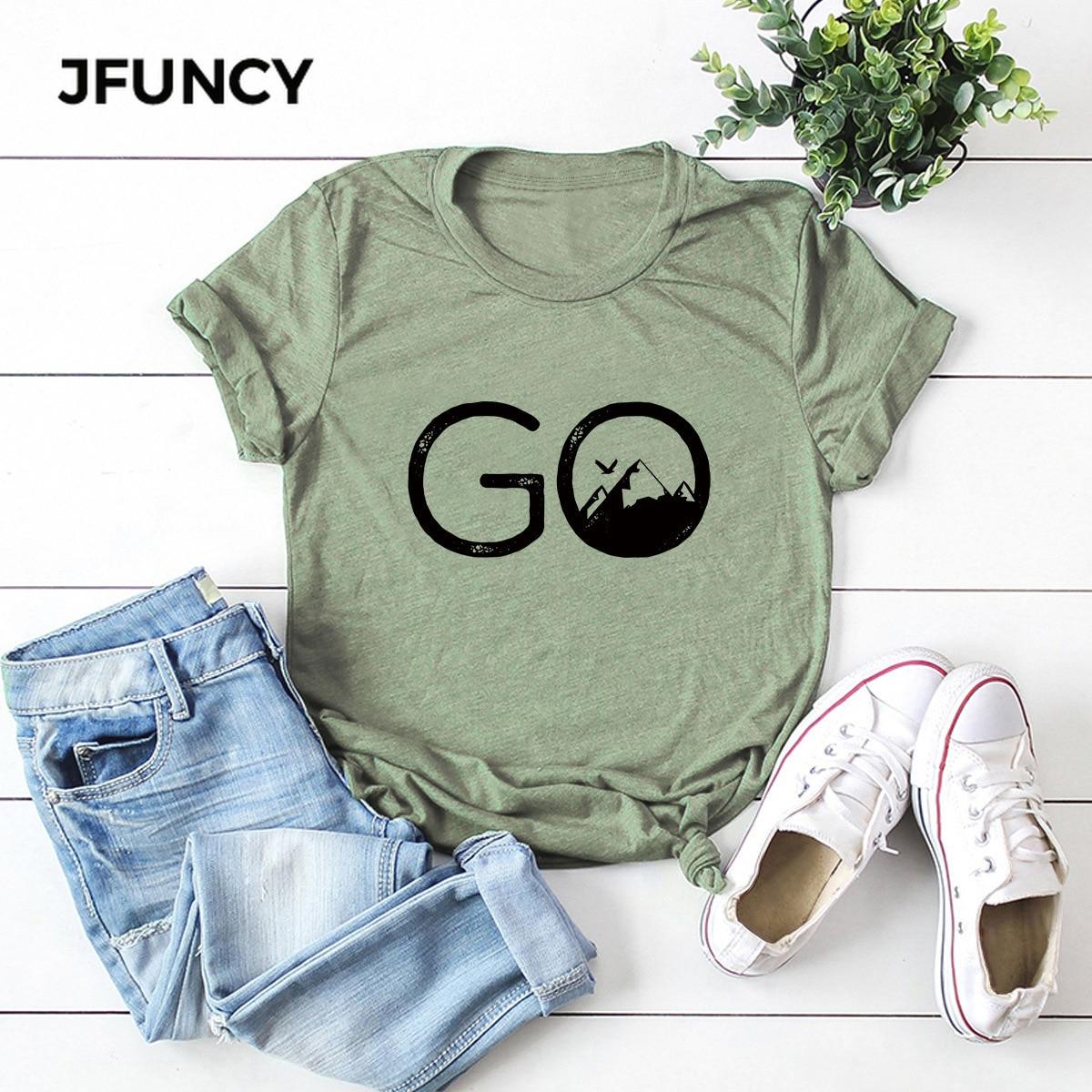 JFUNCY Plus Size Women T Shirt Go Hike Print Short Sleeve Tees Woman Tops Casual T-shirts 100% Cotton Female Tshirt