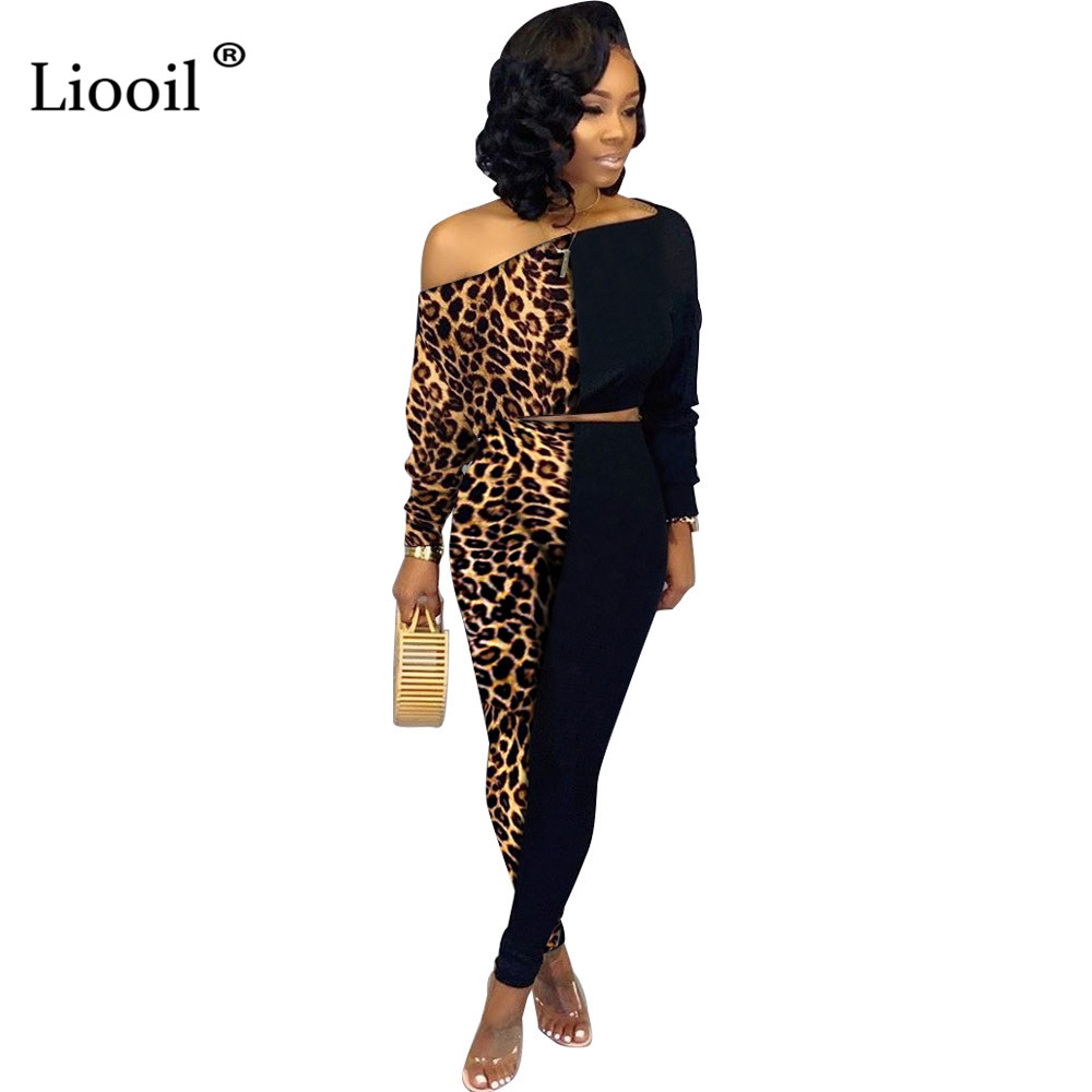 Liooil Plus Size Leopard Print Two Piece Set Party Club Outfit For Women 2019 Fall Winter Color Block Sexy Top And Pencil Pants