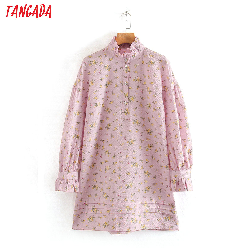 Tangada 2020 Fashion Women Pink Floral Print Mini Dress Ruffles Long Sleeve Ladies Vintage Pleated Oversize Dress Vestidos 2W134