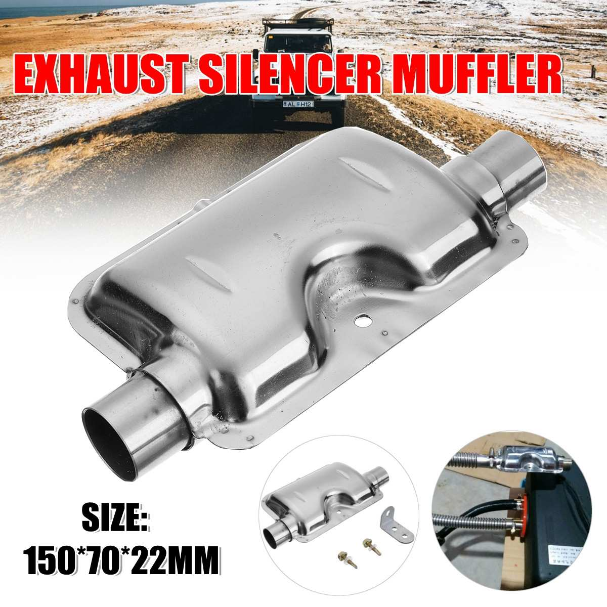 Parking heater stainless steel exhaust muffler 24mm and Exhaust Pipe suitable for car air diesel genuine Car Accessories(China)