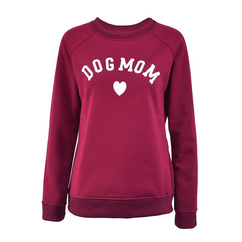 Dog Mom Women's Plus Velvet Fashionable Full Sleeve Casual Sweatshirt Printing Heart-shaped Kawaii Pullover Sweatshirt Clothing