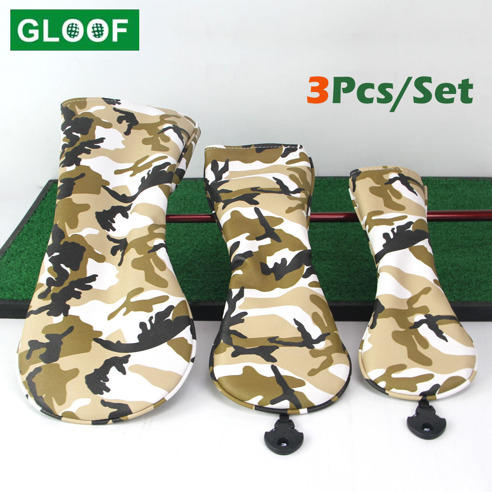 3Pcs/Set Portable Camouflage PU Golf Club Wood Headcovers Protector Golfs Head Cover Set