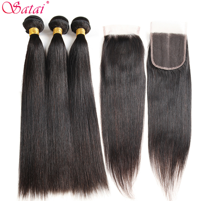 Satai Straight Hair Bundles With Closure 100% Human Hair Bundles With Closure Brazilian Hair Bundles With Lace Closure Non Remy