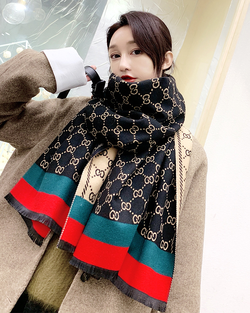 Women Cashmere Winter Scarf Pashmina Shawls Lady Wraps Chain Luxury Print Scarves Warm Thick Wool Bufanda 2019 Design