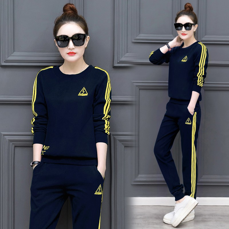 2019 Spring Korean-style New Style Large Zipper Pack 2-piece Casual Suit Student Uniform Slimming Sports WOMEN'S Suit