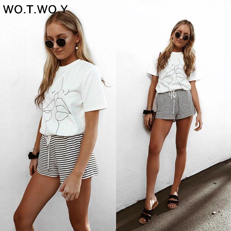 WOTWOY 18 Tumblr Lips T Shirt Women Summer O-Neck Casual Print Tops Women Cotton Short Sleeve Funny Tshirt Female Harajuku 3