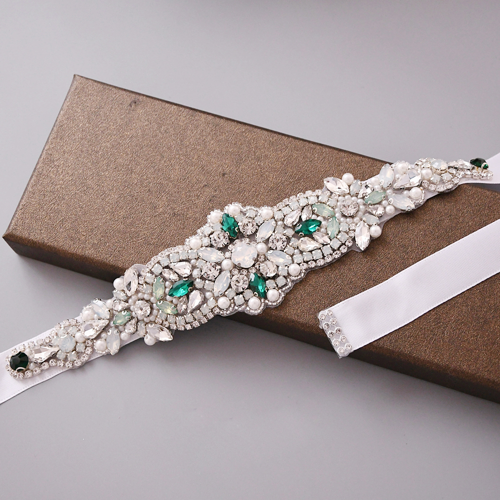 TRiXY S452 Wedding Green Stones Belt Handmade Bridal Belts Rhinestones Sashes Jewel Belt For Women Waist Belt Crystal Sash Belt