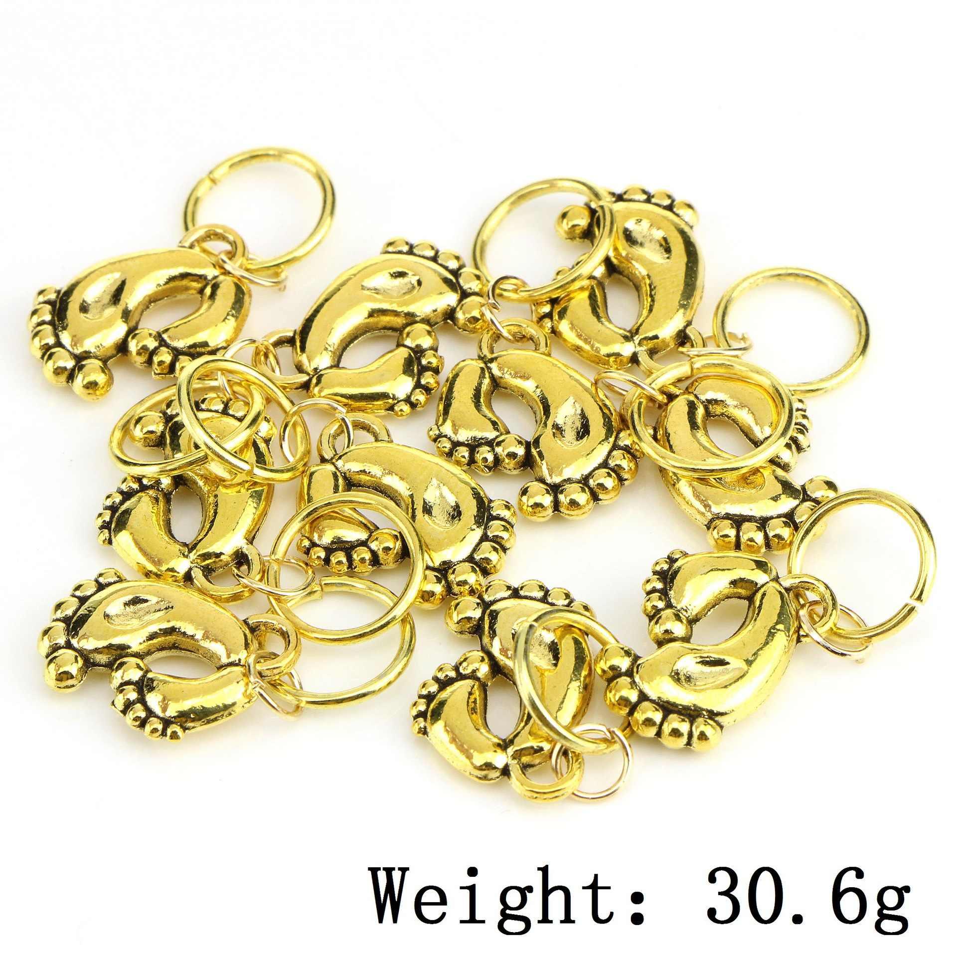 10 unids/pack oro 14 estilos dijes diy pelo trenza dread cuentas clips puños anillos joyería dreadlock accesorios para el cabello