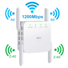 Беспроводной Wi-Fi ретранслятор 5G WiFi удлинитель 1200 Мбит/с WiFi усилитель сигнала с большим диапазоном Wi-Fi усилитель сигнала 2,4G Wi-Fi Repiter точка доступа