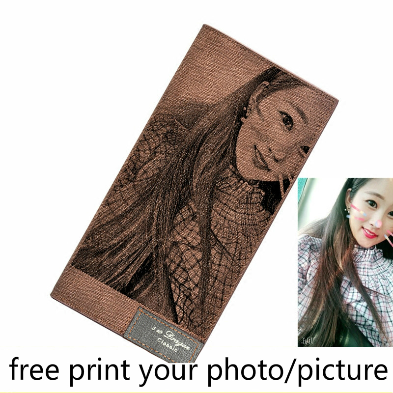 Long Customized Photo Wallet Men's Picture Diy Lettering Printing Engraved Drawing Clutch Bag Students Ultra-thin Simple Wallet