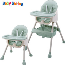 Baby Shining Kids High Feeding Chair Dining Chair Double Tables Macaron Multi-function Height-adjust Portable with Storage Bag(China)