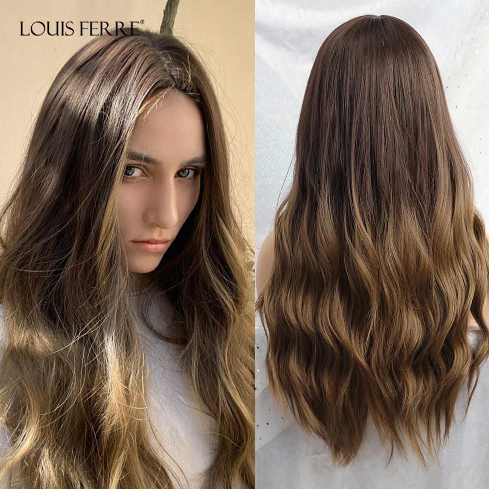 LOUIS FERRE Panjang Ombre Hitam Coklat Bergelombang Wig Hightlight Alami Bagian Tengah Sintetis Wig untuk Wanita Cosplay Tahan Panas Rambut