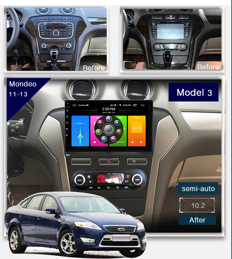 GPS Navigation For Ford Mondeo Dvd Automotivo <font><b>Car</b></font> <font><b>Radio</b></font> <font><b>Autoradio</b></font> <font><b>2Din</b></font> Android 10.0 Stereo Multimedia Carplay Head Unit Player image