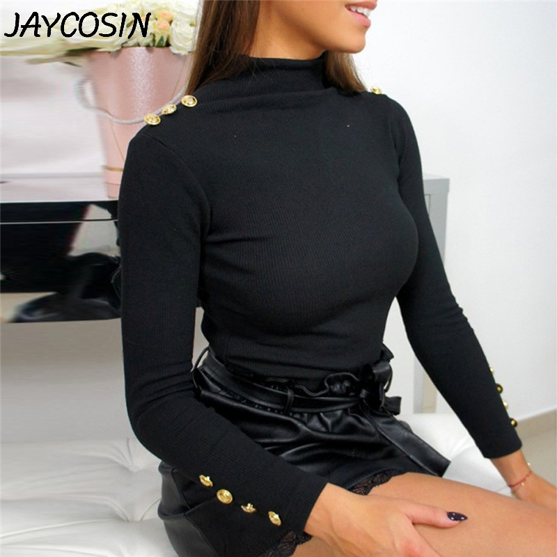 JAYCOSIN Women Sweaters 2019 Autumn Winter Fashion Long Sleeve Buttons Solid Turtleneck Stretch Sweater Pullovers Tops jy25