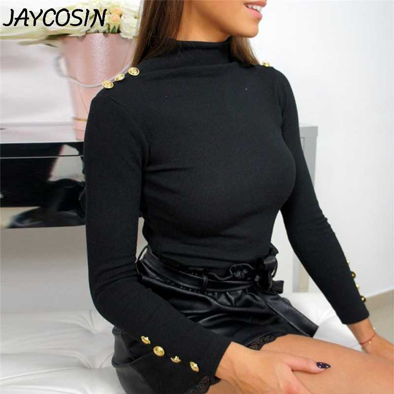 JAYCOSIN Vrouwen Truien 2019 Herfst Winter Fashion Lange Mouwen Knoppen Solid Coltrui Stretch Trui Truien Tops jy25