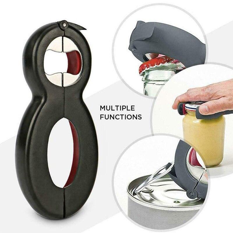 Bottle Opener Screw Cap Jar Bottle Wrench 6 In 1 Multi Function Twist Bottle Opener Can Wine Beer Lid Twist Off Jar Opener Claw