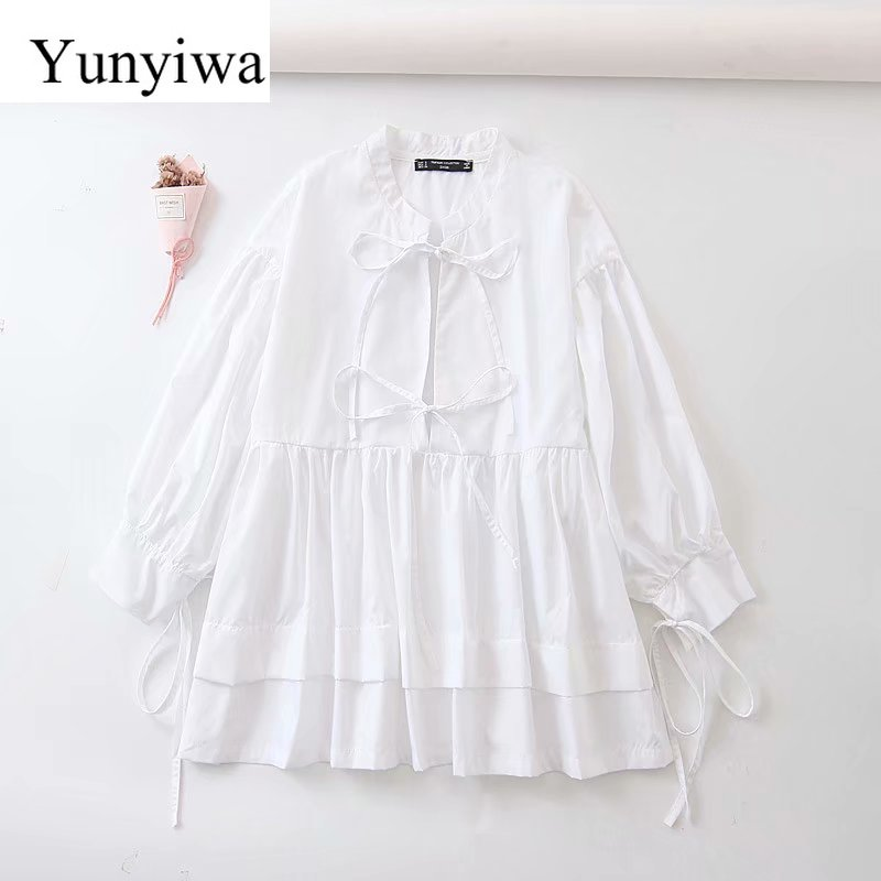 Women Elegant Bow Tied Decoration Casual Loose Smock Blouses Lantern Sleeve Shirt Chic Chemise Hem Patchwork Blusas Tops