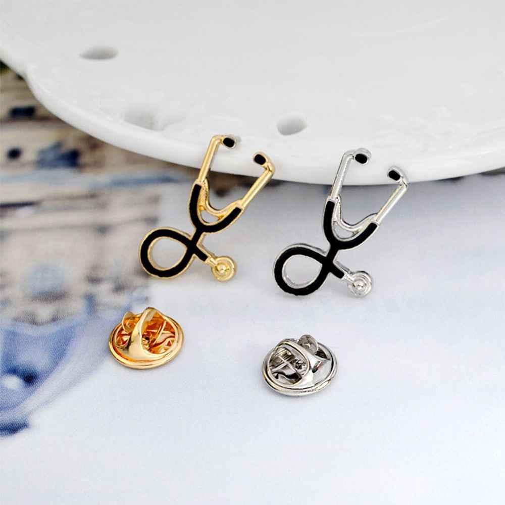 Kreatywne kolorowe stetoskop emalia broszki Pins lekarz pielęgniarka medyczny Denim torba przycisk odznaki kobiety mężczyźni biżuteria prezenty