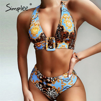 Simplee Vintage bikini push up Print swimsuit women Triangle swimwear 2020 female Buckle bathing suit bathers Summer new biquini - discount item  40% OFF Swimwears