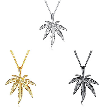 цена на 2020 New Creative Fashion Gold Color Maple Leaf Necklace Hemp Leaf Pendant Charm Chain Necklace For Women Men Gifts Jewelry