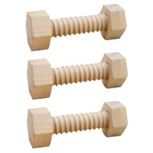 Puzzle-Toys Blocks Assembling Building Wooden for Child 3pcs Aid Screw-Nut Hands-On Teaching