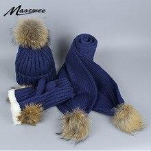 Трехсекционный комплект для женщин из натурального меха с помпоном Skullies Beanies шапка шарф и перчатки вязаная осенняя и зимняя теплая шапка с подкладкой