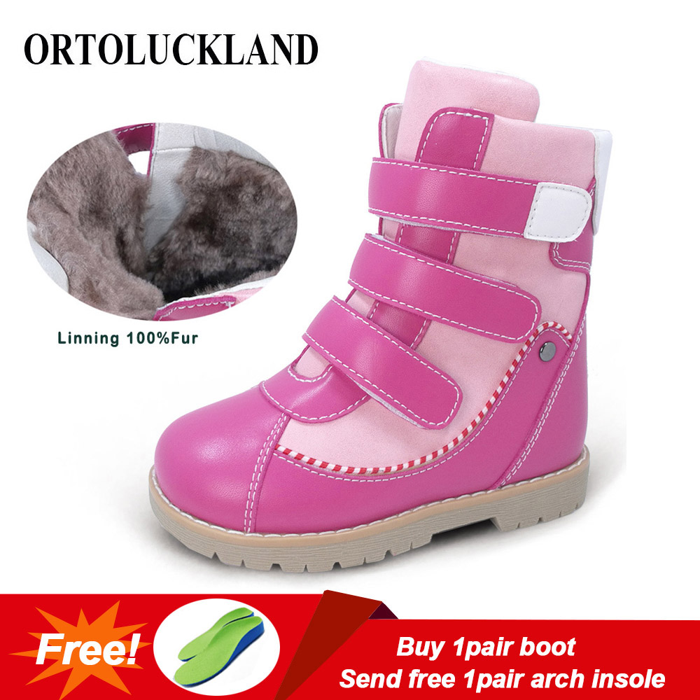 Ortoluckland Children Winter Orthopedic Boots Natural Fur Leather Calf Short Snow Boots For Girls Pink Warm Fashion Kids Shoes