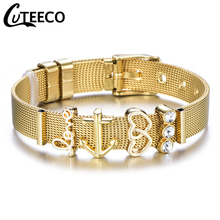 Cuteeco Love Gold Color Stainless Steel Mesh Bracelet Set Gold Love Heart Charm Pan Bracelet Bangle for Woman Jewelry Gifts cz charm chain bracelet rose gold stainless steel roman numeral bracelet love jewelry for woman