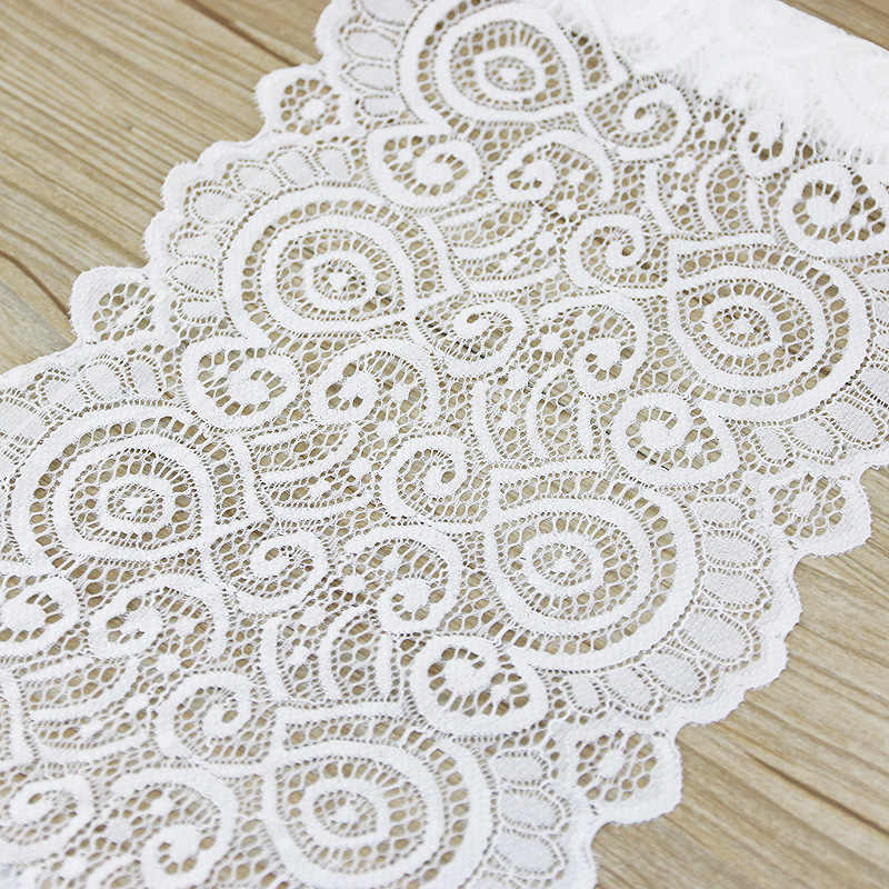 (3 Meter) 18Cm Wit Elastische Kant Stof Franse Hollow Ondergoed Stretch Lace Trim Diy Franse Hollow Ondergoed