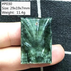Image 2 - Pendentif en Seraphinite verte naturelle pour femmes et hommes, amour cadeau, perles en forme de goutte deau, pierres précieuses, collier pendentif, bijoux AAAAA