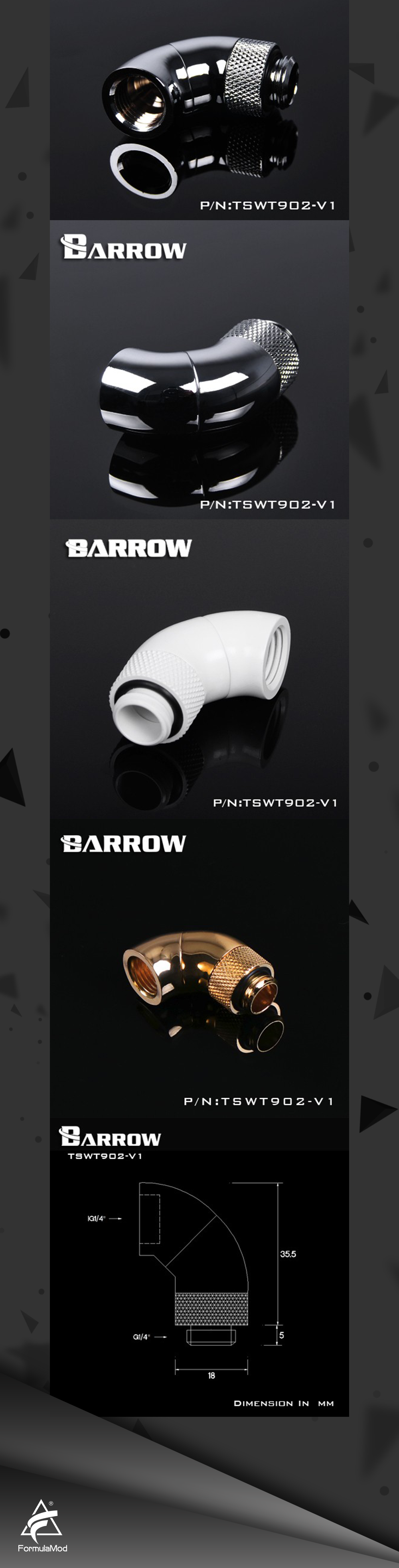 """Barrow G1/4"""" White Black Silver Dual Rotary 90-Degree 360 degree rotatable IG1/4"""" Extender water cooling fittings TSWT902-V1"""