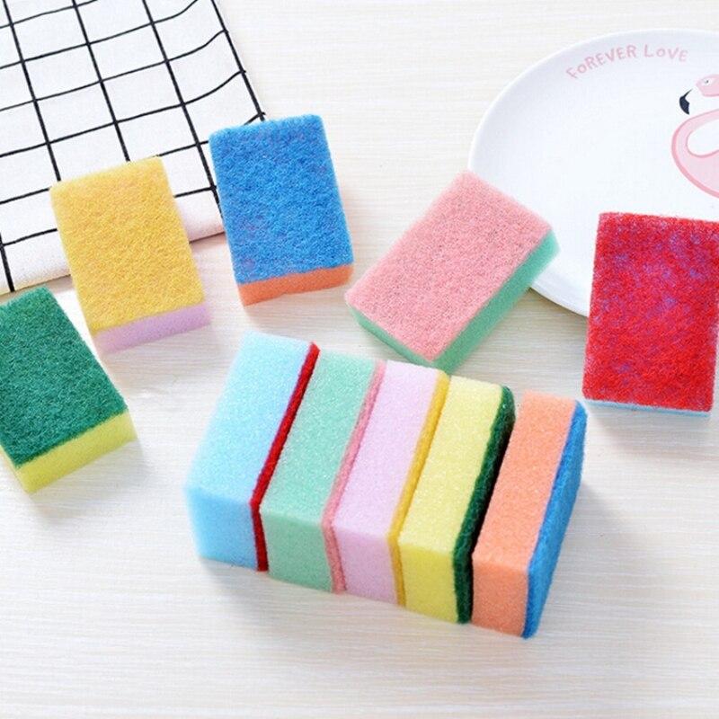 10Pcs Dishwashing Sponge Brush Dishwasher Kitchen Accessories Magic Cleaning Sponge Brush
