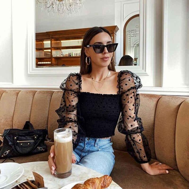 เซ็กซี่ผู้หญิงย่น Backless เสื้อเสื้อตาข่าย SHEER พัฟแขนเสื้อทรวงอก 2020 ฤดูใบไม้ผลิฤดูร้อนสุภาพสตรี DOTS เสื้อ