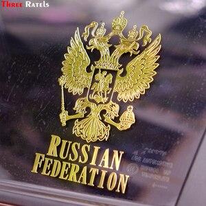 Image 3 - Üç Ratels MT 015 #98*80mm 80*65mm 1 2 adet metal nikel araba sticker çift başlı kartal arması rus ulusal