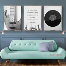 Scandinavian Black and White Musical Instrument Decor Painting Canvas Art posters and Prints Wall Pictures for Bedroom No Frame(China)