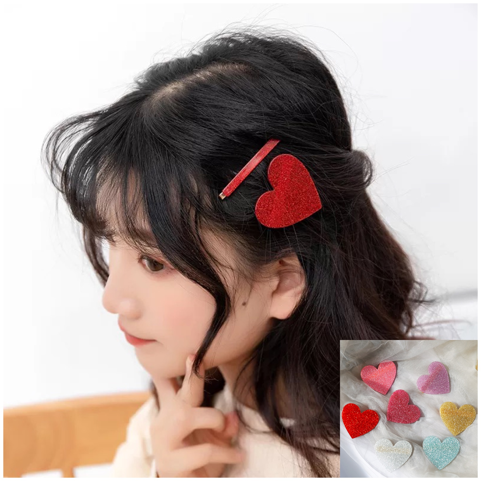1 Pcs Fashion  Arylic Plastic Bling Bling Heart Hairclips Girls Hairpin  Hair Accessories For Women