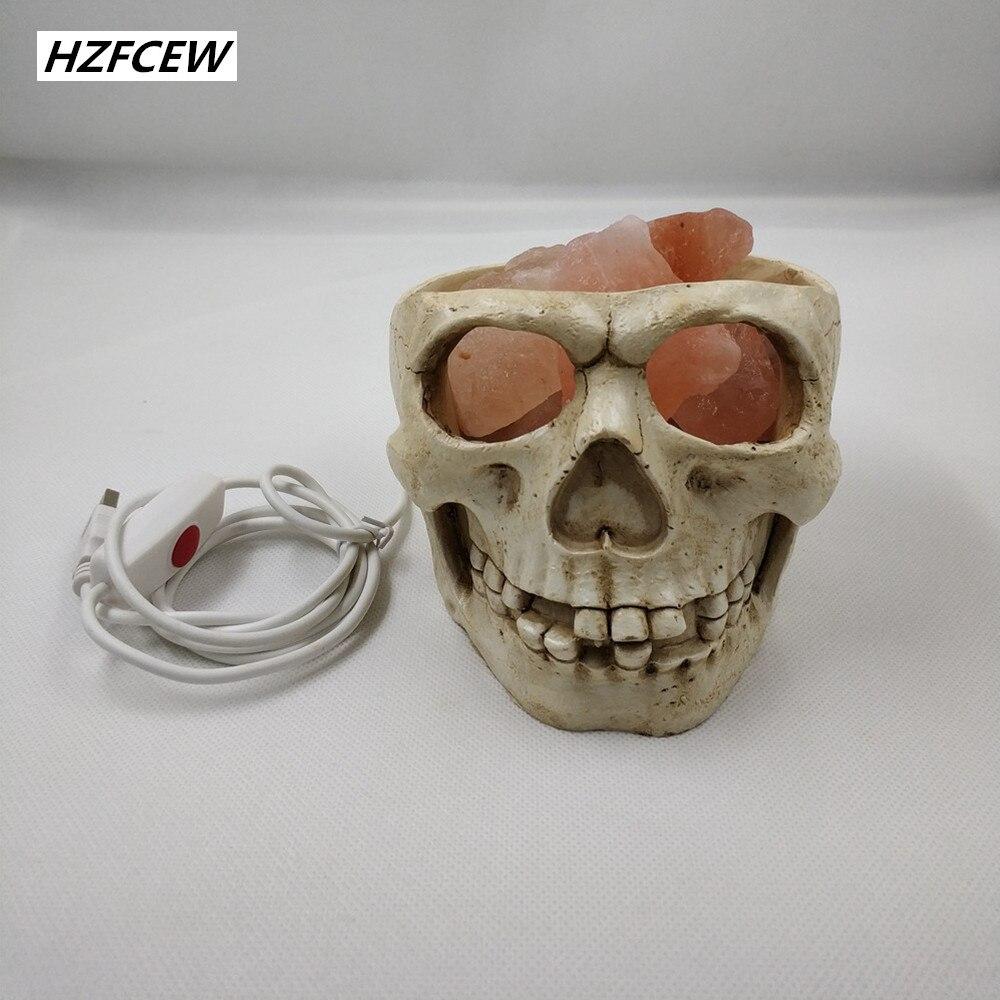 2019 nouvelle lampe de sel en cristal de l'himalaya de Style européen et américain de crâne Pakiatan lampe de nuit Dimmable USB