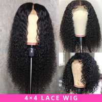 Brazilian Wig 4x4 Lace Closure Wig Kinky Curly Human Hair Wig Preplucked Human Hair Wigs for Black Women Non Remy Jazz Star Hair
