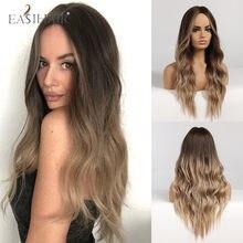 Eihair-perruque Body Wave longue synthétique, perruque ombré, noire, brune, Blonde, raie centrale, résistante à la chaleur naturelle pour femmes