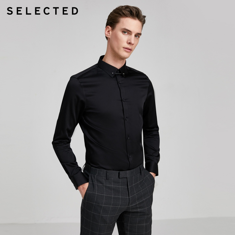 SELECTED Men's 100% Cotton Slim Fit Pure Color Long-sleeved Shirt SIG|420105560