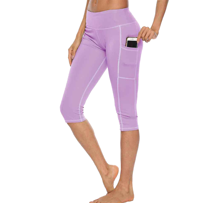 Woman Workout Capri Fitness Leggings With Side Pocket High Waist Running Yoga Pants Sportwear Legging Sport Femme Pants