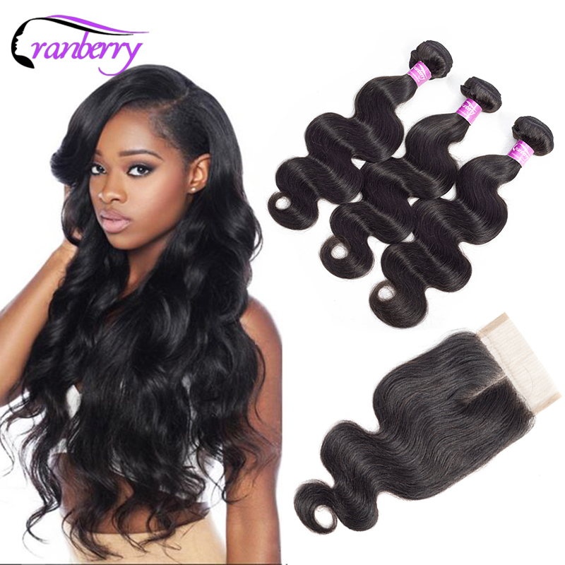 CRANBERRY Hair Brazilian Body Wave Hair Weave Bundles With Lace Closure 3 Bundles Human Hair With Closure 100% Remy Human Hair
